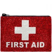 Red First Aid Glitter Clutch bag