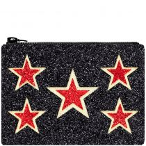 Star Shield Glitter Clutch Bag