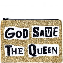 God Save The Queen Glitter Clutch Bag