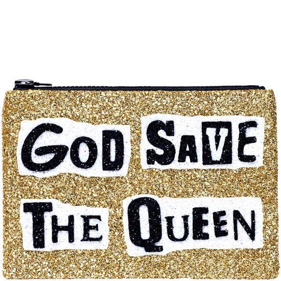 God Save The Queen Glitter Clutch Bag