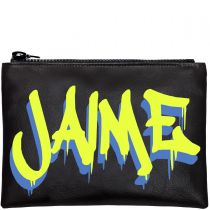 Personalised Black & Neon Graffiti Clutch Bag