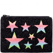 Multi Stars Glitter Clutch Bag