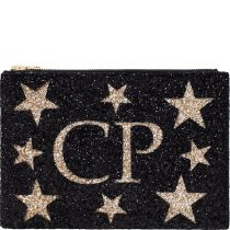Black & Pale Gold Stars Monogram Glitter Clutch Bag