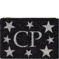 Black & Silver Stars Monogram Glitter Clutch Bag