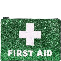 Green First Aid Glitter Clutch bag