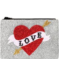 Love Heart Glitter Clutch Bag