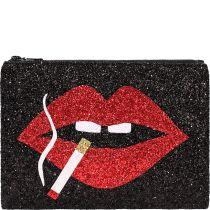 Smoking Lips Glitter Clutch Bag