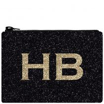 HB London x I Know The Queen Monogram Glitter Clutch Bag Black & Gold