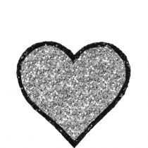 Heart Glitter Sticker Silver