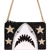 Black Shark Glitter Cross-Body Bag