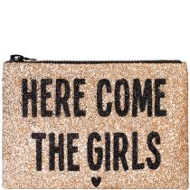 Here Come The Girls Glitter Clutch bag