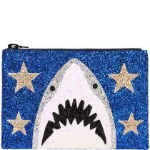 Blue Shark Glitter Clutch Bag