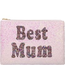 Best Mum Glitter Clutch Bag