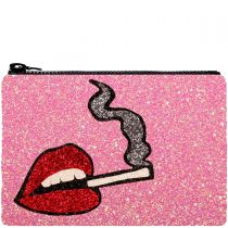 Pink Smokin' Hot Glitter Clutch Bag