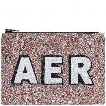 Jewel Block Initials Glitter Clutch Bag