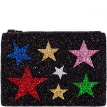 Black Multi Stars Glitter Clutch Bag