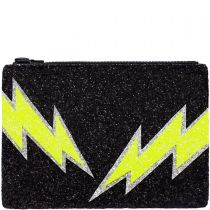Black Bolt Glitter Clutch Bag