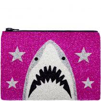 Pink Shark Glitter Clutch Bag