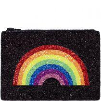 Rainbow Black Glitter Clutch Bag