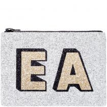 Silver Block Initials Glitter Clutch Bag