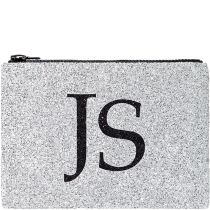 Silver Monogram Glitter Clutch Bag