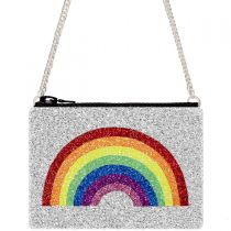 Silver Rainbow Glitter Cross-Body Bag