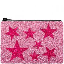 Pink Stars Glitter Clutch Bag